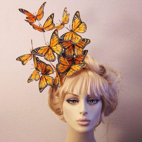 Effie butterfly fascinator  hat hair piece hunger by SpoiledCherry, $48.00