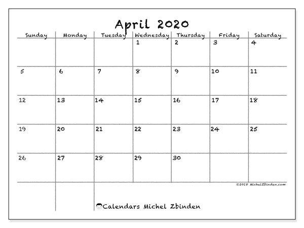 April 2020 Calendar (77SS) | Calendar | Print calendar