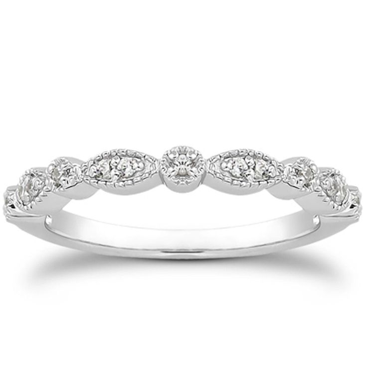 14k white gold vintage look fancy pave diamond milgrain wedding ring band - Wedding Rings And Bands