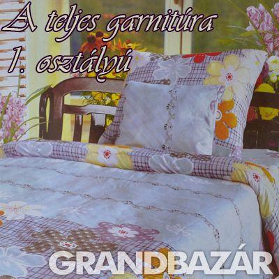 3 részes kockás-virágos ágynemű garnitúra (111)