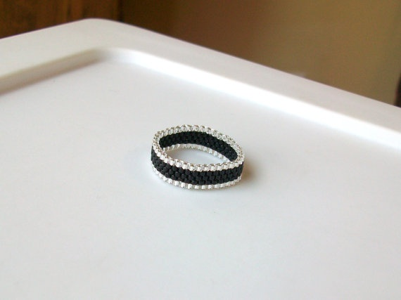 Black and Silver Beaded Band Ring  Size 11 by mswolflady on Etsy, $12.00