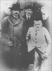 Albert Einstein, Nikola Tesla and Charles Steinmetz as they appeared in 1921, in a visit to the transoceanic station, at New Brunswick, NJ.
