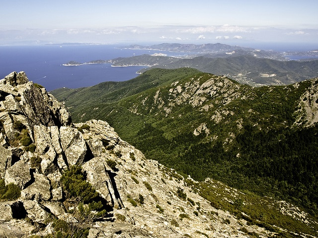 Staring eastward from the top of Monte Capanne, Isola d'Elba in Italy