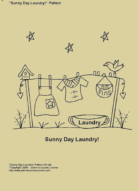 Primitive Stitchery journée ensoleillée-motif de lessive !                                                                                                                                                                                 More