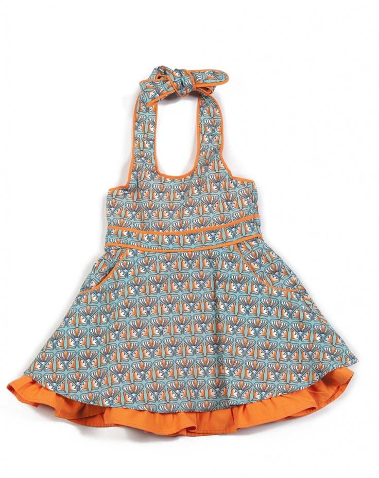 Kleed Blorangie turkoois/oranje Saints and Bullies Jurk Meisje - Minifox - Online store - webwinkel van originele, kwaliteitsvolle designer baby- en kinderkleding
