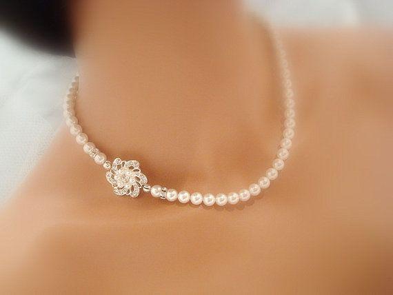 Wedding rhinestone necklace bridal necklace by treasures570, $65.00