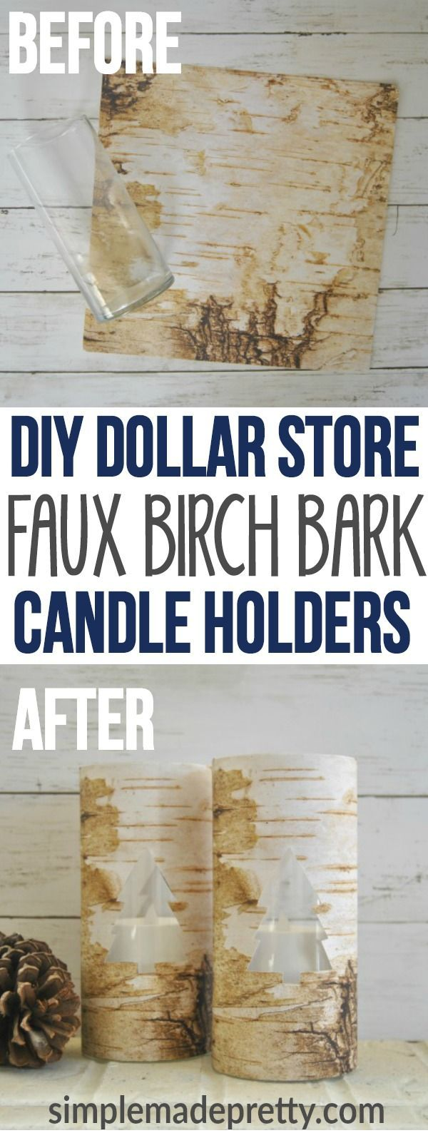 I made these Dollar Store DIY home decor vases as a Christmas Craft idea to give as gifts. These are the best dollar store DIY candle holder decorations I've found online! I love how this DIY adds rustic decor to our living room to create farmhouse style. via @SMPblog