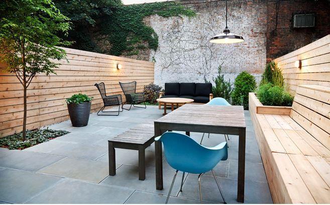Afbeeldingsresultaat voor zitbank tuin muur