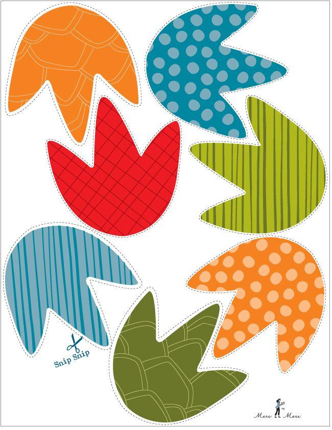 huellas de dinosaurios para guirnaldas, invitaciones o el motivo que tu quieras