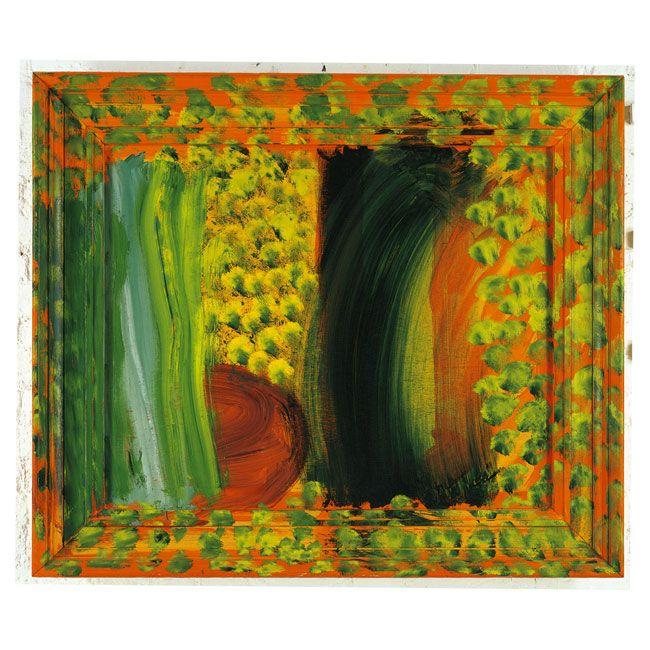 Howard Hodgkin, look at the frames which are outide the picture but within the painting