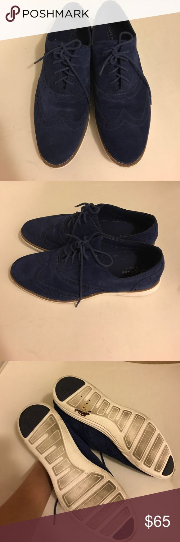 Cole Han Women's Blue Suede Oxford size 8B Almost new. Worn only once. Beautiful blue suede oxfords by Cole Haan Cole Haan Shoes