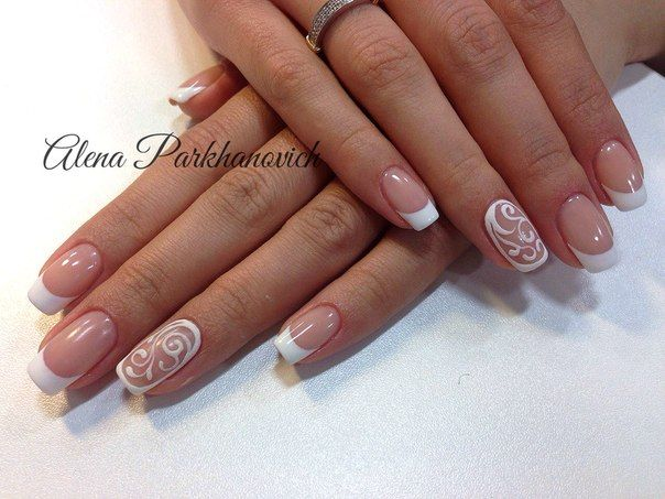 Airy nails, French for wedding, French nails photo, French with pattern, Party nails, Snow nails, White french 2016, Winter french 2016