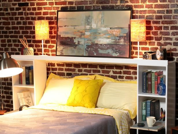 DIY Network has step-by-step instructions on how to make a headboard with built-in nightstands and an upper shelf. For guest bedroom