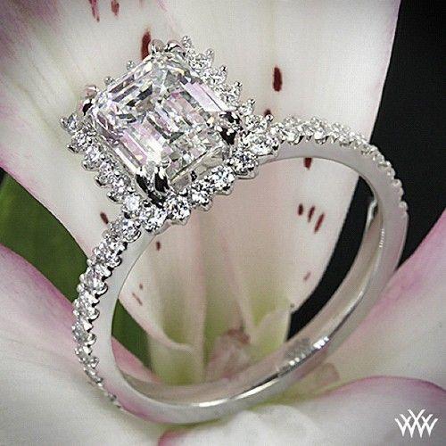 2.07 G VS1 Emerald Cut Diamond in our Custom Whiteflash Platinum Diamond Halo Pave Engagement Ring #Whiteflash #Verragio
