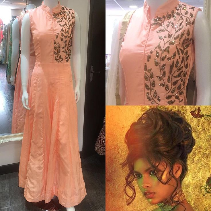 Look Of The Week | Be pretty in peach with our beautiful new partywear gown. This is perfect for all those occasions where you want to dress up but keep it chic & elegant! Finish off with a soft updo like this stunning look by @aamirnaveedhair Allowing to show off the collar & embellishment  #Maysa #LookOfTheWeek #OOTD #Fashion #Style #Trend #Outfit #AsianBridal #Asian #Partywear #Gown #Peach #Pastel #Gold #Bronze #MUA #Hair #BridalUpdo #Hairstyle #Wedding #Summer #India #Pakistan #Bradford…