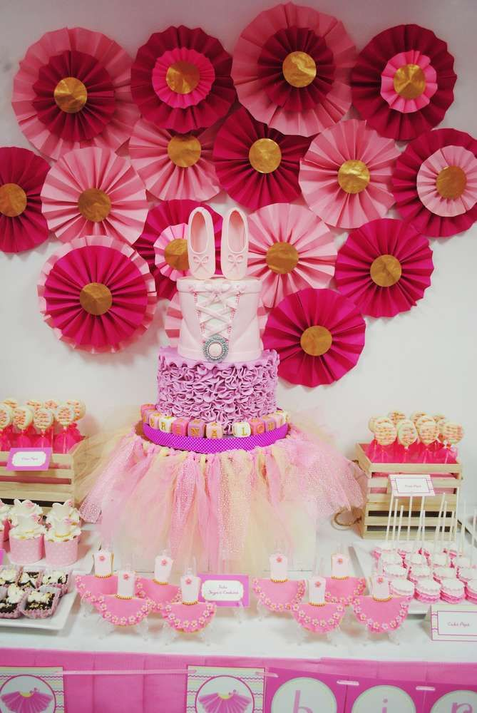 Dessert table and paper medallion backdrop at a ballerina birthday party! See more party ideas at CatchMyParty.com!