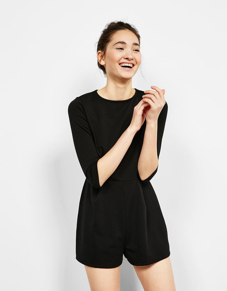 Ottoman short jumpsuit with 3/4 length sleeves - Dresses - Bershka Mexico
