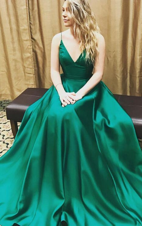 Charming Prom Dresses For Teens,Women Dresses, Spaghetti Straps Long A-line Prom Dresses,Simple Green Prom Gowns,Handmade Evening Dresses,Cheap Plus Size Prom Dress,Women Dresses,Party Dresses
