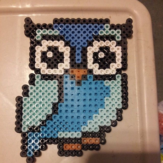 blue owl perler by koiykeuchiha pixel