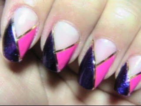 July Birthday Nail Design 7th in series, purple and pink nails, spring nail art, summer nail designs, striping tape tutorial, quick nail designs, fall nail art, winter nail designs,