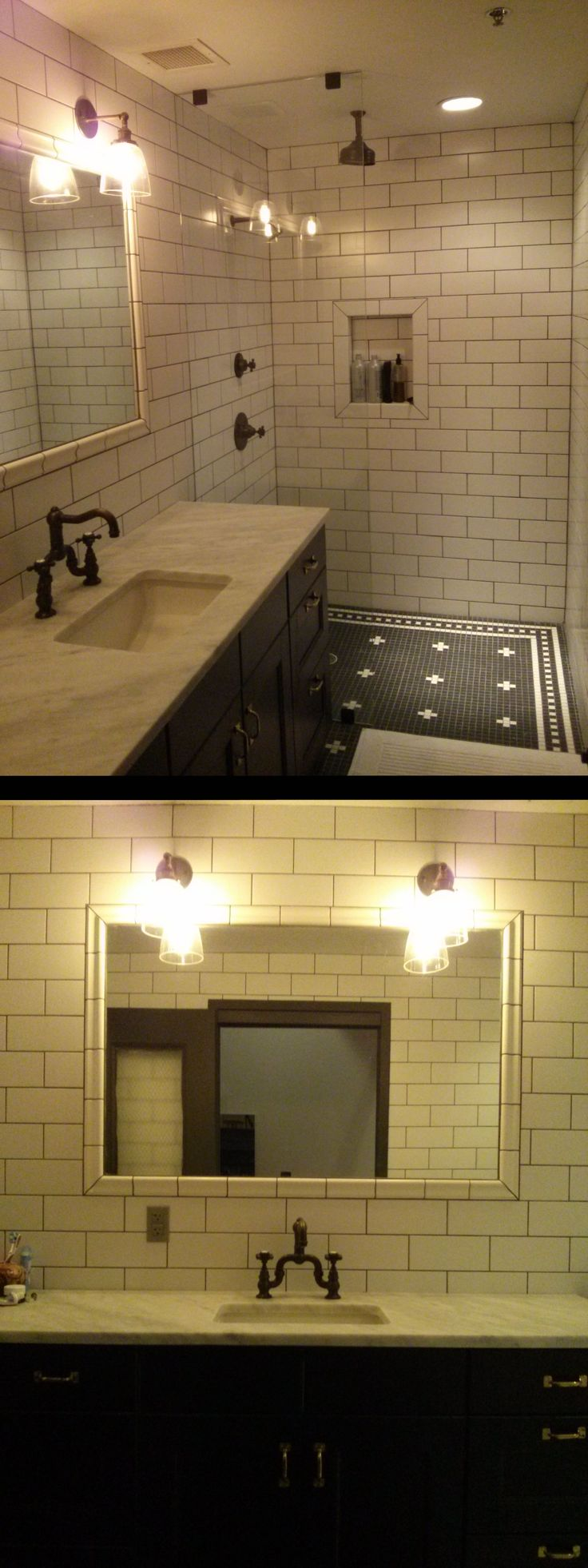 131 best custom renovation projects images on pinterest mosaics a classic black white bathroom shower installation installed with daltile rittenhouse square in color matte arctic white doublecrazyfo Image collections