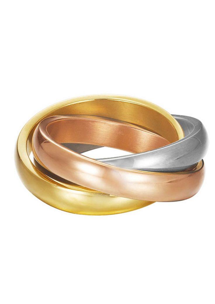 """Esprit, Ring, """"ES-multi, ESRG12477A160-190"""".   Veredeln Sie Ihre Outfits mit diesem schönen Schmuckstück aus teilweise goldfarben und roségoldfarben ionenplattiertem Edelstahl. Der 3-fach verschlungene Ring hat je eine Breite von ca. 4 mm. Die organische Form schmeichelt Ihrer Hand.  Lieferung in einer Esprit-Geschenkverpackung...."""