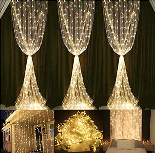Window Curtain Lights YHCHOO 304LED 3M3M984ft984ft Fairy Icicle String Lights Party Wedding Christmas Lights for IndoorOutdoor Home Garden Decorations 110v Warm White *** Details can be found by clicking on the image.