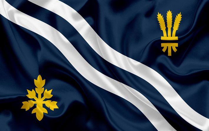 Scarica sfondi Contea di Oxfordshire Bandiera, Inghilterra, bandiere delle contee inglesi, Bandiera dell'Oxfordshire, Contea Inglesi, Bandiere, bandiera di seta, Oxfordshire