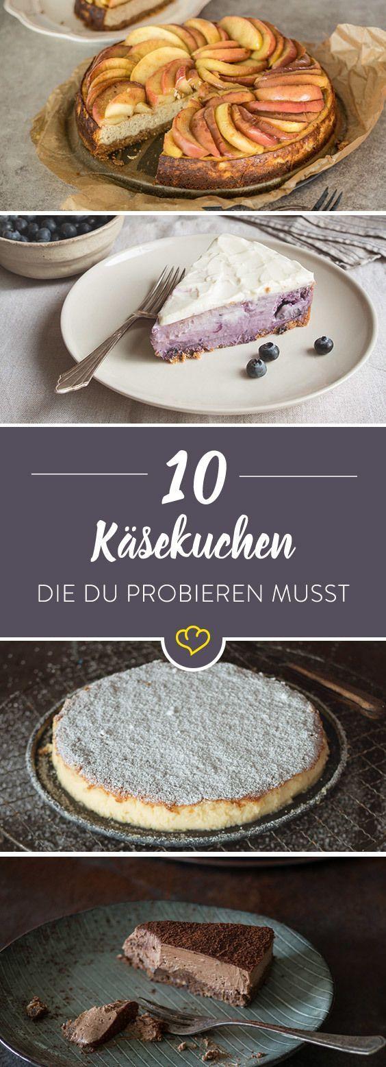 Eins ist sicher: Käsekuchen geht immer. Aber immer die gleiche Leier muss nicht sein. Mit oder ohne Obst, schokoladig, vegan – mit diesen 10 Rezepten bringst du ab jetzt Abwechslung auf die Kuchenplatte.