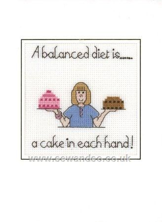 0 point de croix femme regime - cross stitch a balanced diet is a cake in each hand