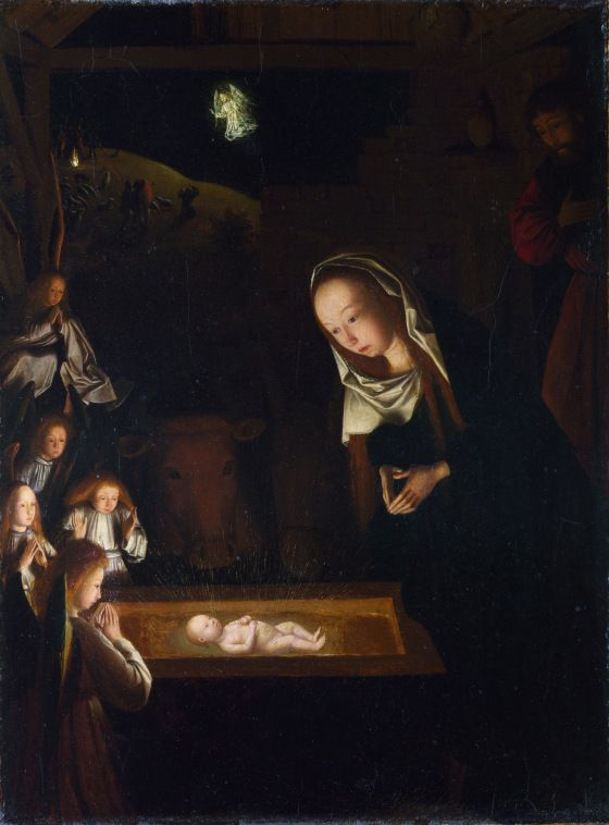 Geertgen tot Sint Jans, Nativity, c. 1490. The little Christchild glows like a firefly. The artist might have based this depiction on the visions of the Brigit of Sweden.