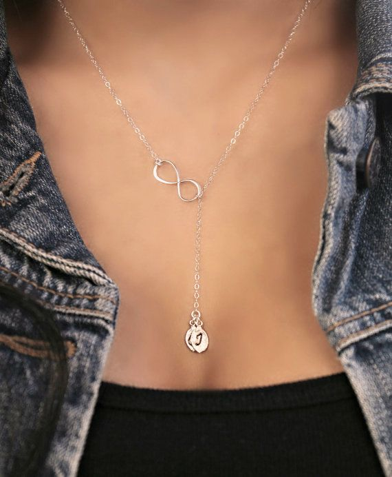 925 sterling silver necklace, Sideways Infinity lariat with two 2 custom stamped initial leaves, personalized monogram letter, frienship on Etsy, $31.16 CAD