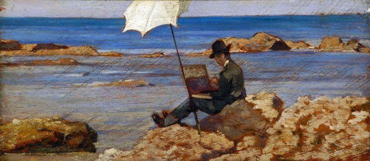Giovanni Fattori Silvestro Lega che dipinge sugli scogli, 1866 circa