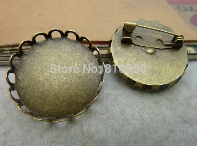 Metal/Alloy Antique Bronze 20/25/30mm Blank Tray Brooches Base Cameo Setting Wholesale