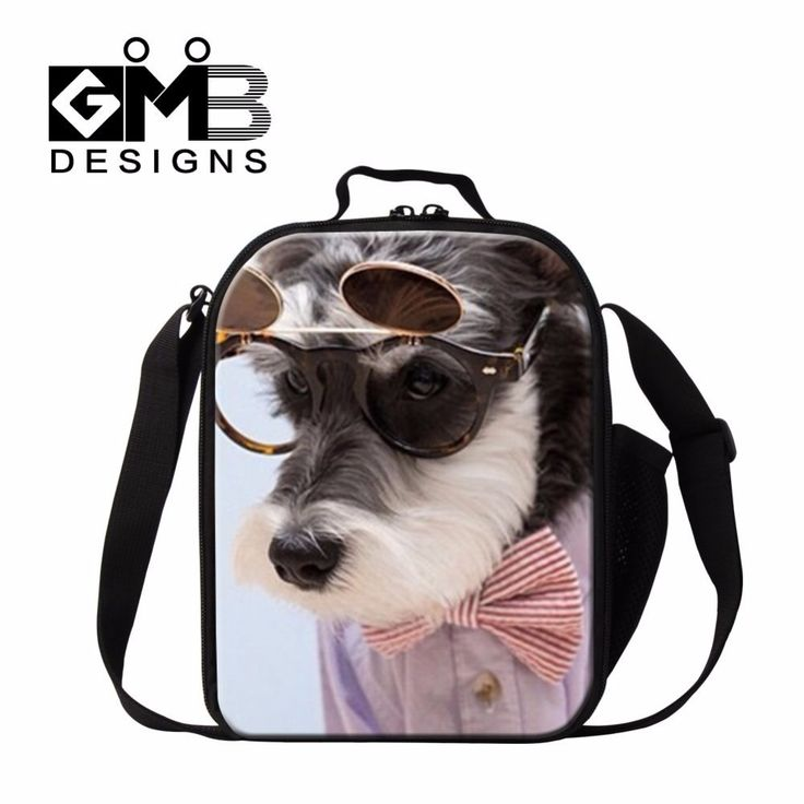 Dispalang kids lunch bag adorable dog with glasses print lunch cooler bag insulated food containers thermal lunch box for school