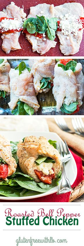 Roasted Bell Pepper Stuffed Chicken | A gluten free chicken recipe for dinner full of spinach, goat cheese and basil!