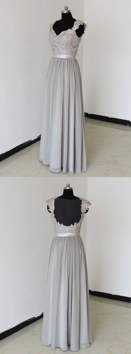 silver long chiffon prom dress/bridesmaid dress, wedding party dress cheap prom dress/bridesmaid dress under 100, evening dress