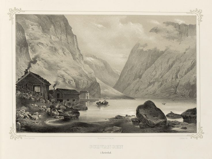 Norge fremstillet i Tegninger - Thomas Fearnley - Gudvangen i Leirdal. jpg (4896×3688)
