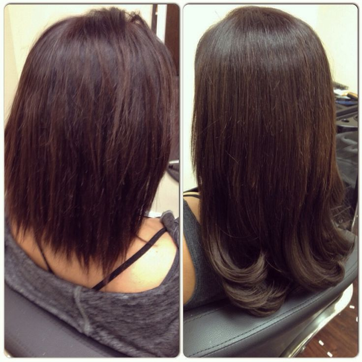 Before and after! Added tape extensions for length and body and layered the hair to blend with the natural cut