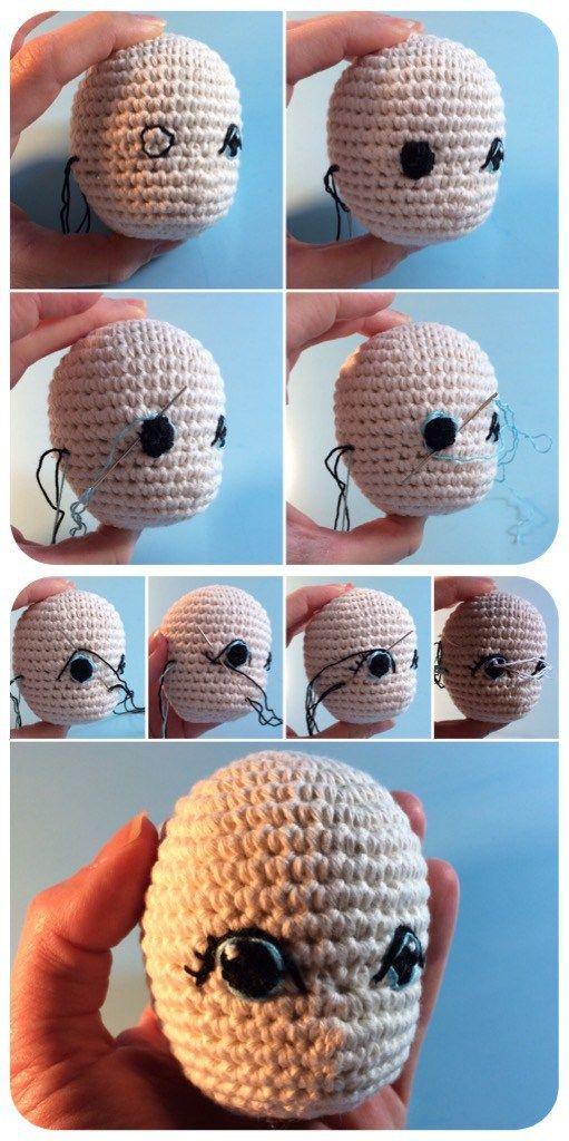 Medusa Puppe häkeln Teil 2: große Comicaugen für weibliche (Häkel-)Puppen – Flauscheinhorn
