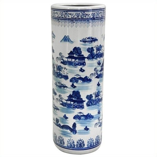 "Oriental Furniture 24"""" Landscape Umbrella Stand (5,930 INR) ❤ liked on Polyvore featuring home, home decor, small item storage, oriental home decor, asian home decor, asian umbrella stand, oriental umbrella stand and asian inspired home decor"