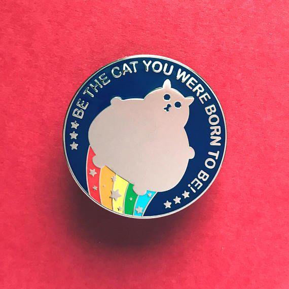 Cat Pin  Fat Cat Enamel Badge  Lapel Pin  Cat brooch  Fat