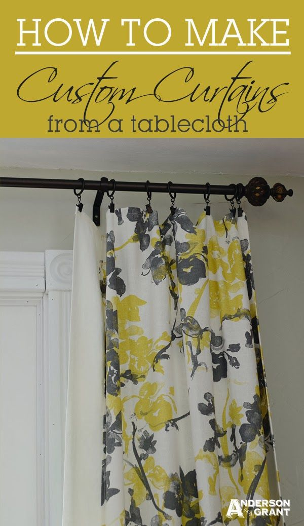 anderson + grant: Custom DIY Curtains Made from a Tablecloth. Love these curtains and such a $$ saver to use a table cloth