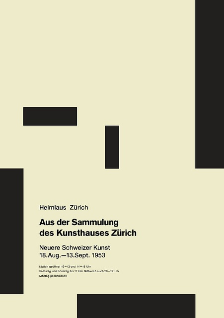 "Josef Muller-Brockman ""From the Collection of the Zurich Kunsthaus: Recent Swiss Art"", poster by Josef Muller-Brockmann, 1953"
