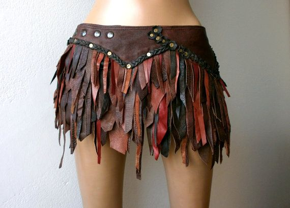 Dream Warriors worn out brown & red leather wrap/bustle slashed patchwork mini skirt. Braided details. Tribal apocalyptic elf voodoo costume