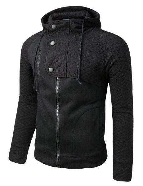 Doublju - Jaqueta Casual Moleton com Capuz (HJ23) Compre roupas de qualidade, com design inovador e preço justo!