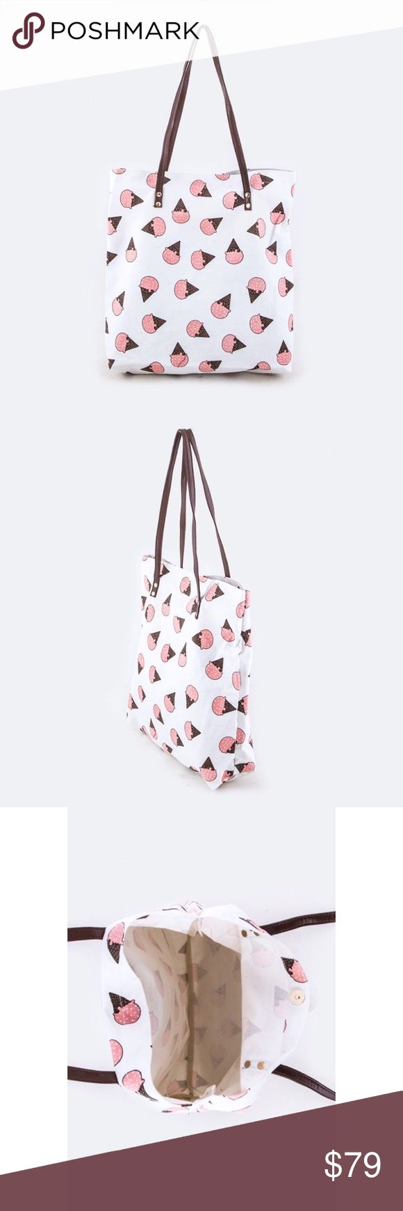 """Ice Cream Cone Canvas Tote Bag 💗 Length 16"""" 💗 Width 4"""" 💗 Height 14"""" or 24"""" with handle 💗 Canvas material  💗Color may vary slightly due to different device color calibration Bags"""