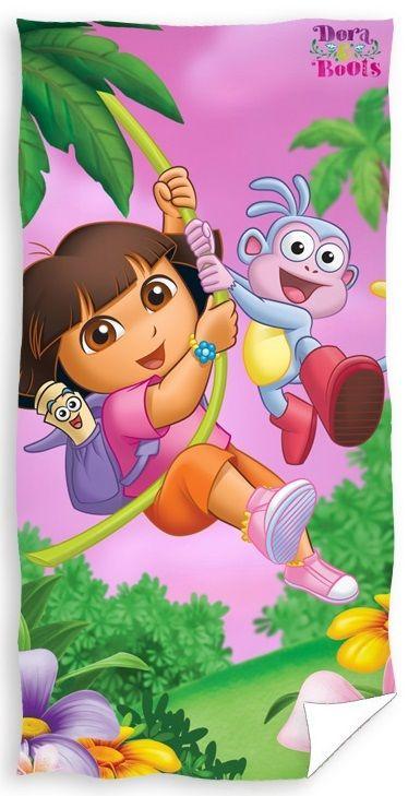 Różowy ręcznik kąpielowy z Dorą i małpką