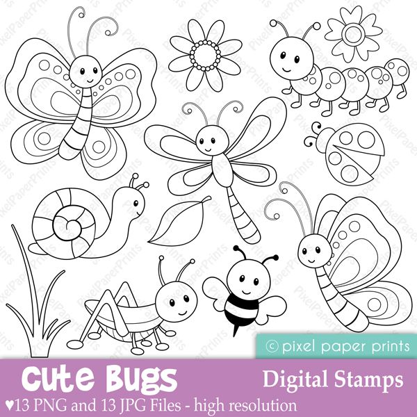 Cute Bugs Digital Stamps - Digital Stamps - Mygrafico.com