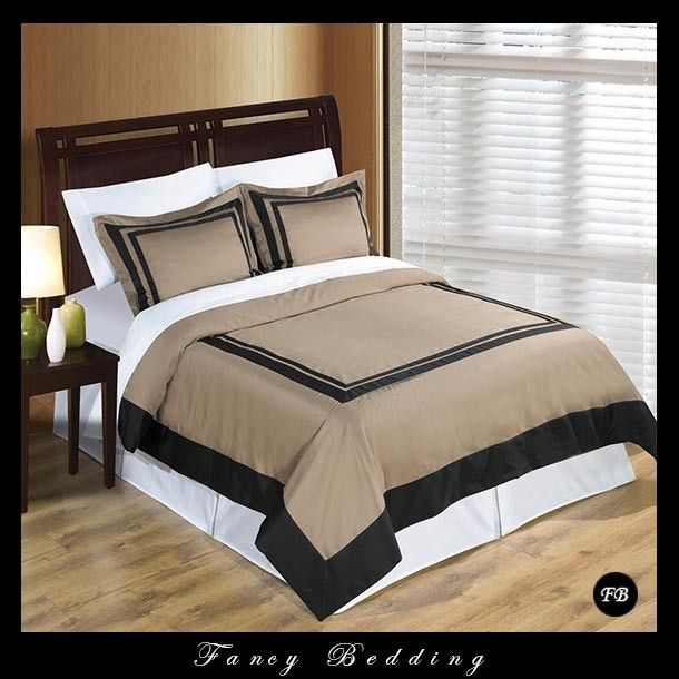 Wrinkle Free Egyptian Cotton Hotel Taupe And Black Duvet Cover Bedding Set